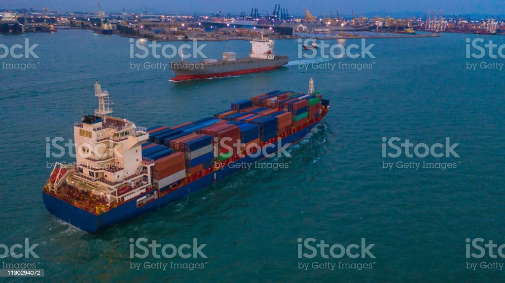 Cargo freight ship carrying container box for import and export...