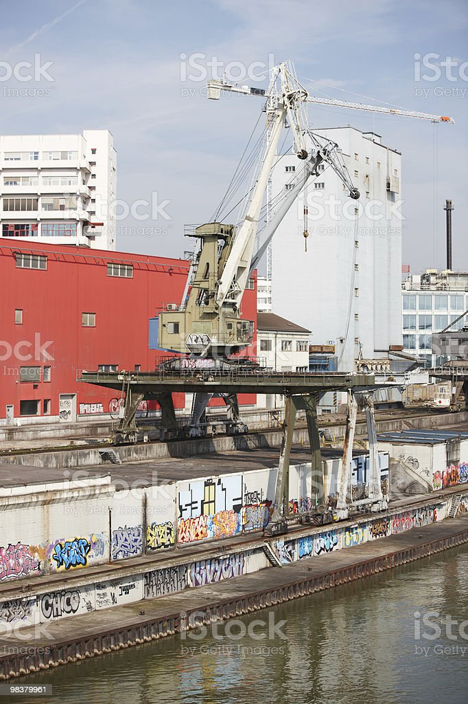 Cargo Harbour With Cranes royalty-free stock photo