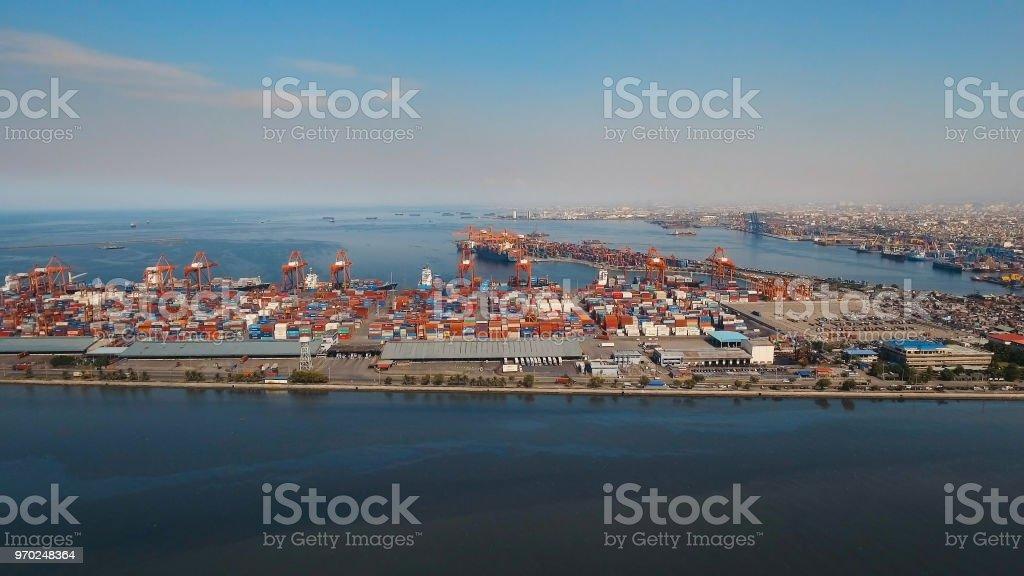 Cargo industrial port aerial view. Manila, Philippines stock photo