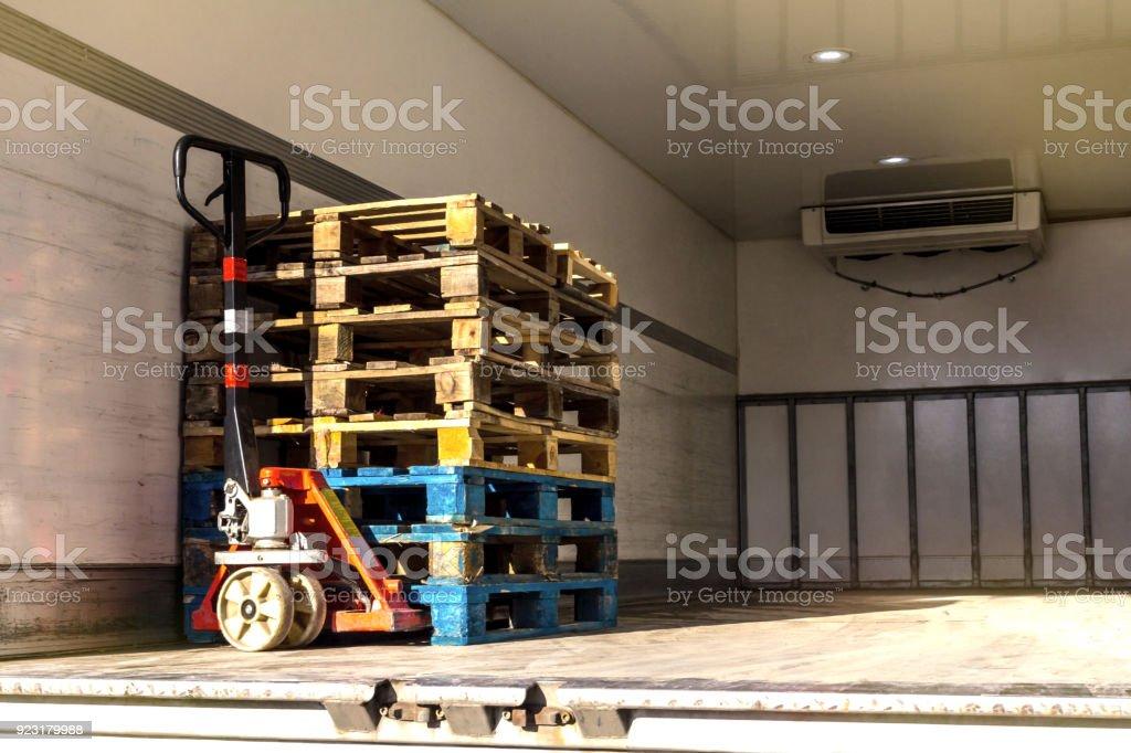 Cargo industry, crane machinery and truck crane stock photo