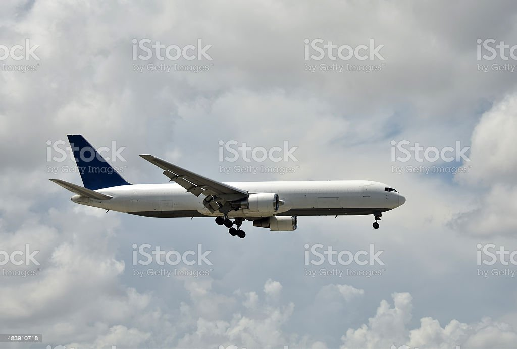 Cargo jet airplane side view stock photo