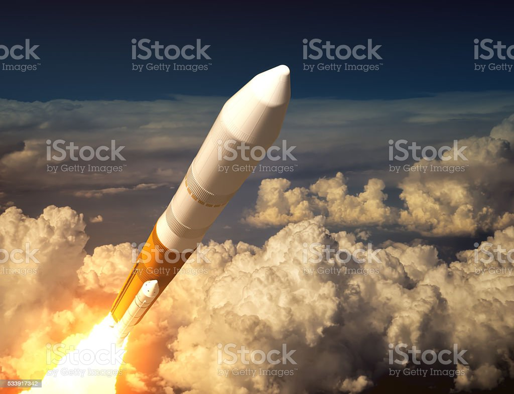 Cargo Launch Rocket In The Clouds stock photo