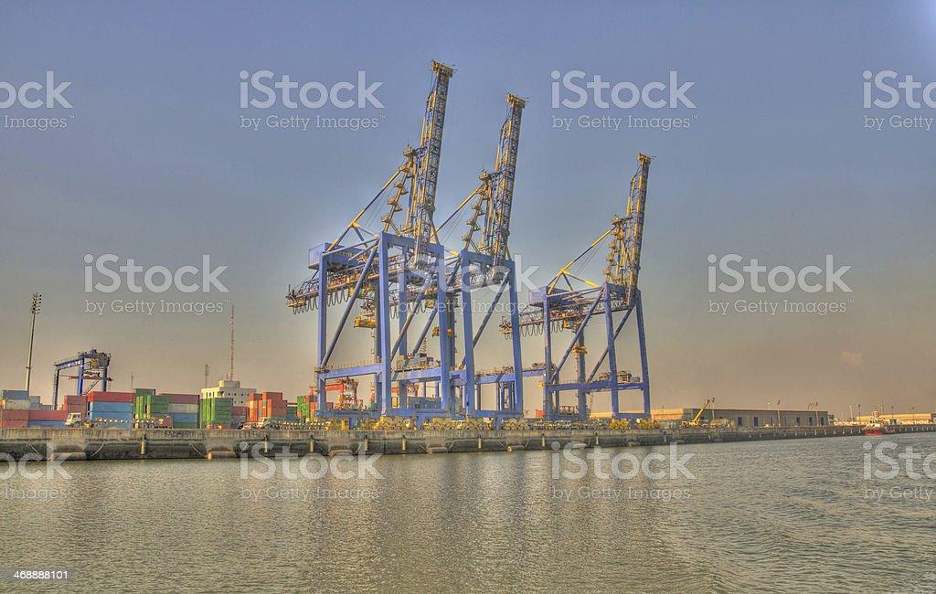 Cargo Lifting Cranes at Port Qasim. stock photo