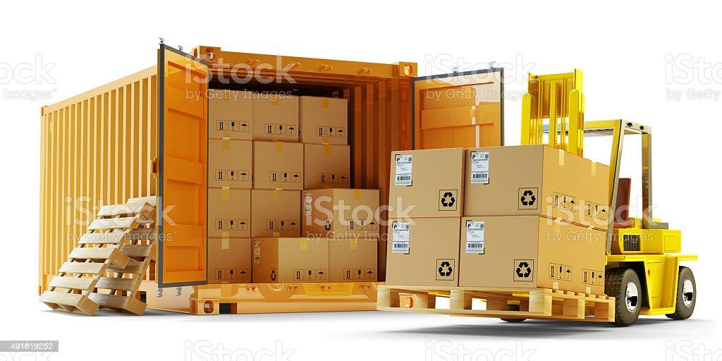 Opérations de chargement de fret, d'expédition, livraison de fret, logistique et transport concept - Photo