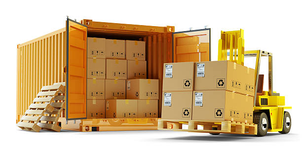 Cargo loading operation, shipment, delivery, logistics and freight transportation concept stock photo