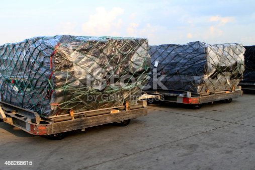 Two pallets of cargo waiting to be uploaded on an aircraft