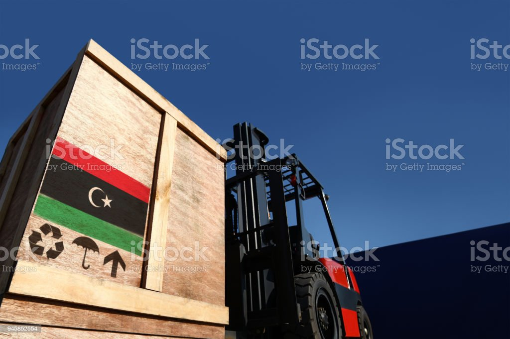 Cargo on forklift truck. stock photo