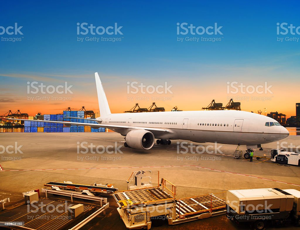 cargo plane loading in air port stock photo