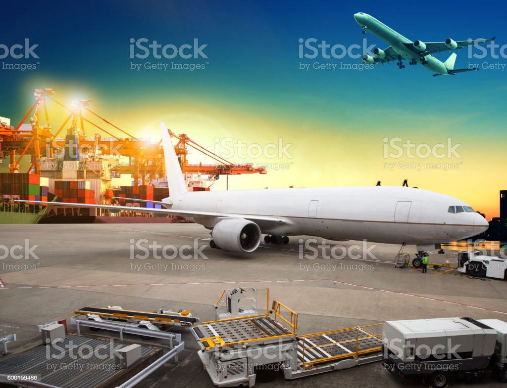 cargo plane loading stock photo