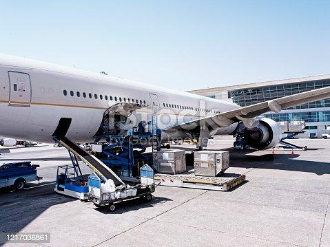 Cargo plane loading.