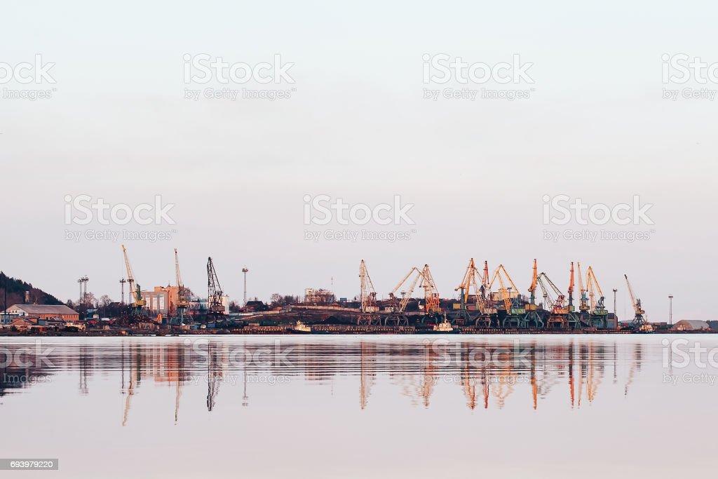 Cargo Port and Cranes Landscape stock photo