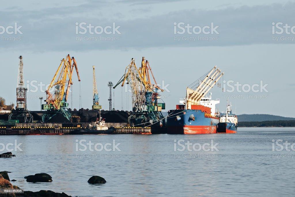 Cargo Port and Cranes stock photo