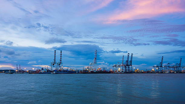 Cargo port at twilight stock photo