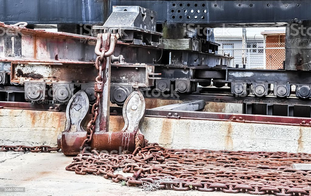 Cargo Port Cribbing: Rusty Details stock photo