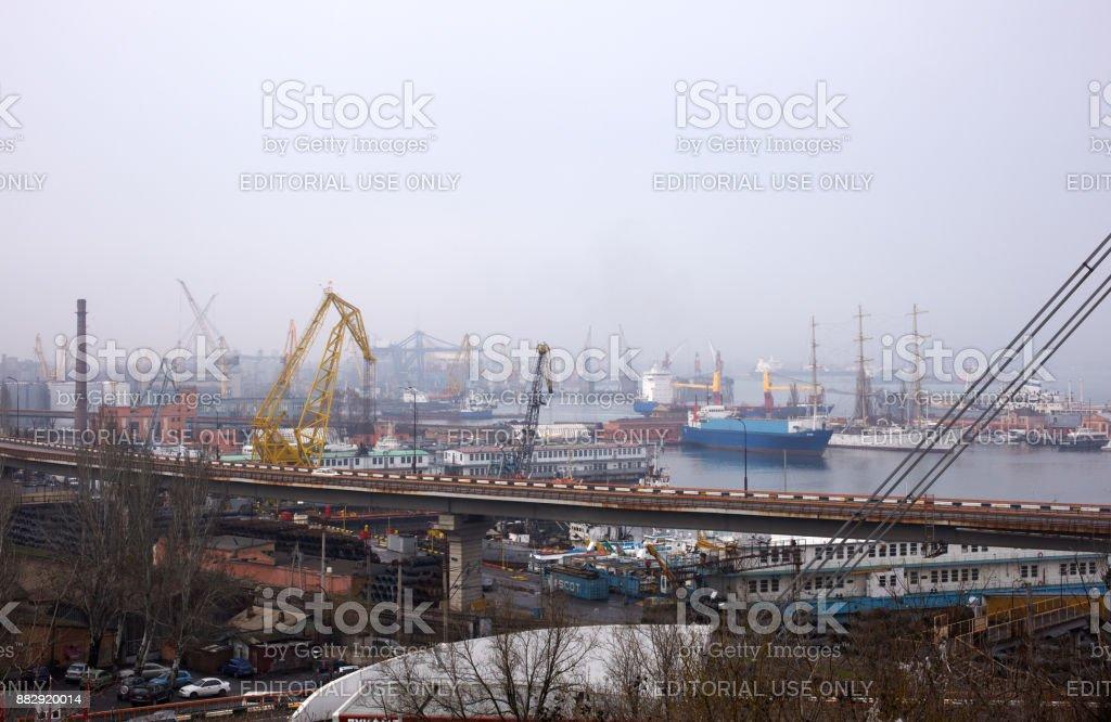 Cargo port in Odessa stock photo