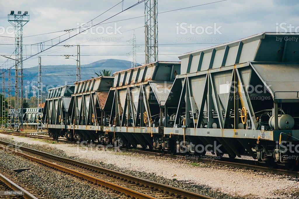 Cargo railcars stock photo
