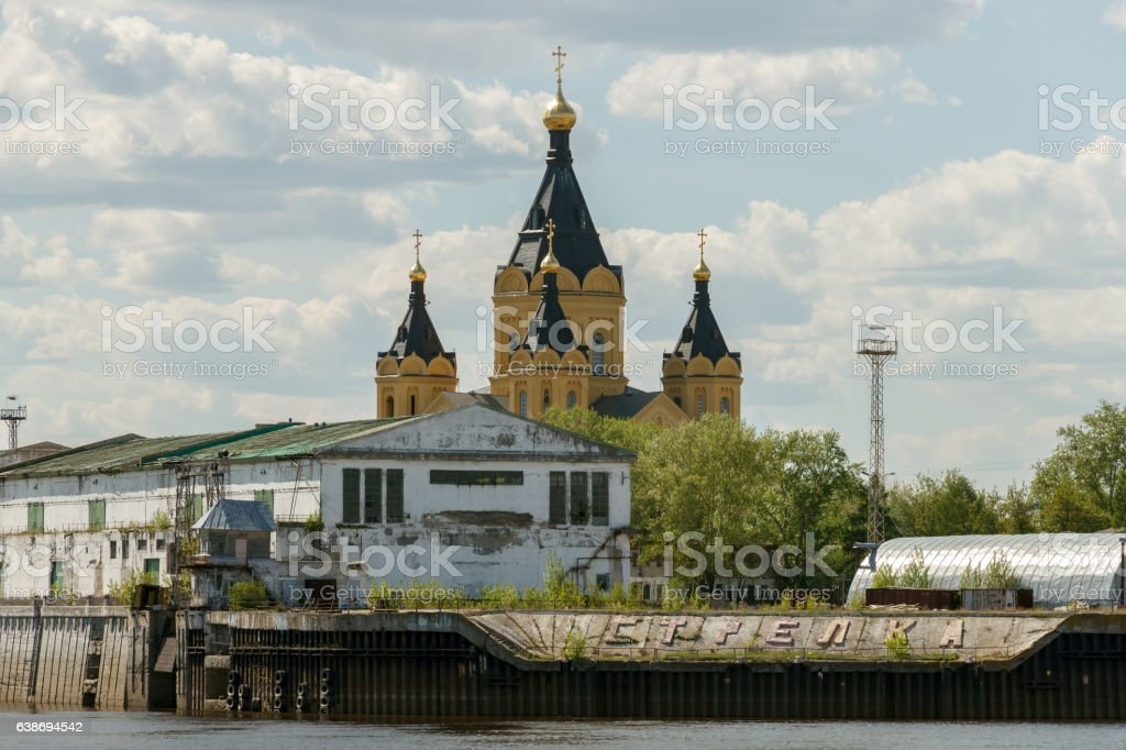 Cargo river port and Alexander Nevsky Cathedral on the Strelka - Photo