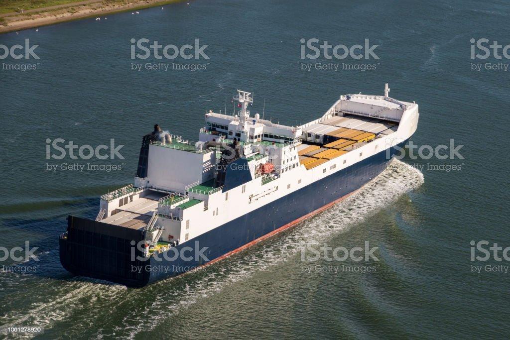 cargo ship aerial river - Royalty-free Cargo Container Stock Photo