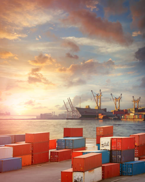 Cargo ship and containers in the port stock photo