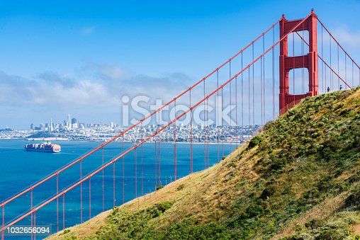 530755444 istock photo Cargo Ship and Golden Gate 1032656094