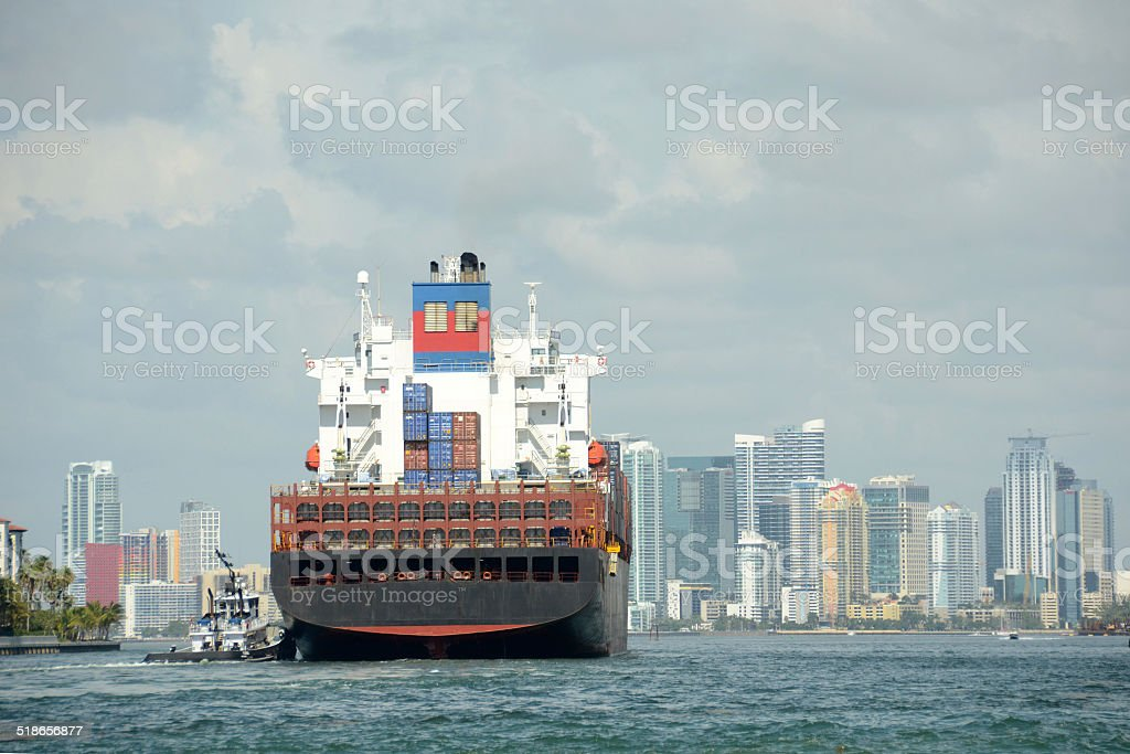 Cargo ship approaching Miami, Florda stock photo