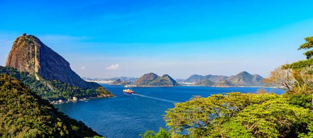Cargo ship arriving Guanabara bay in Rio de Janeiro at afternoon stock photo