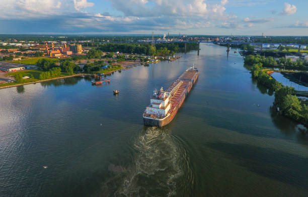 cargo ship arriving in the port city - green bay wisconsin stock photos and pictures