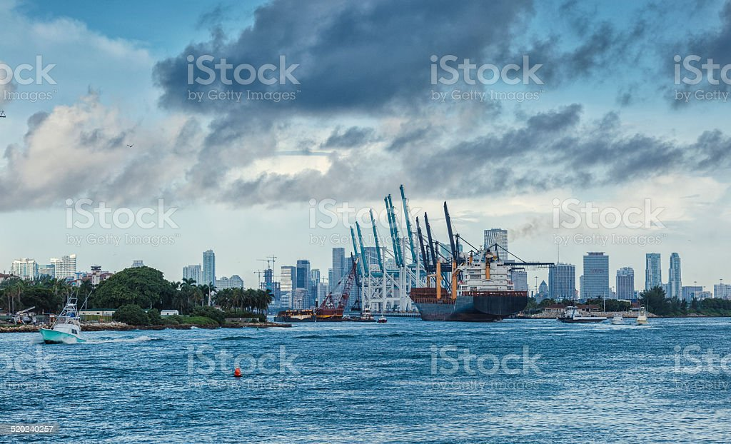 Cargo Ship Arriving to the Port stock photo