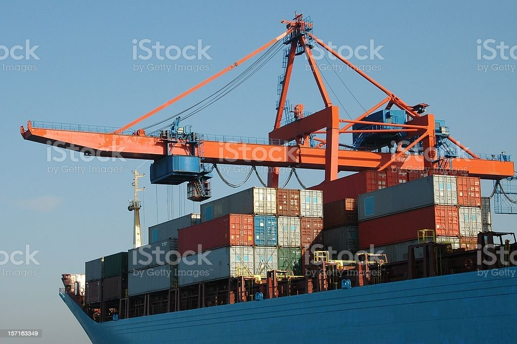 Cargo ship at harbour royalty-free stock photo