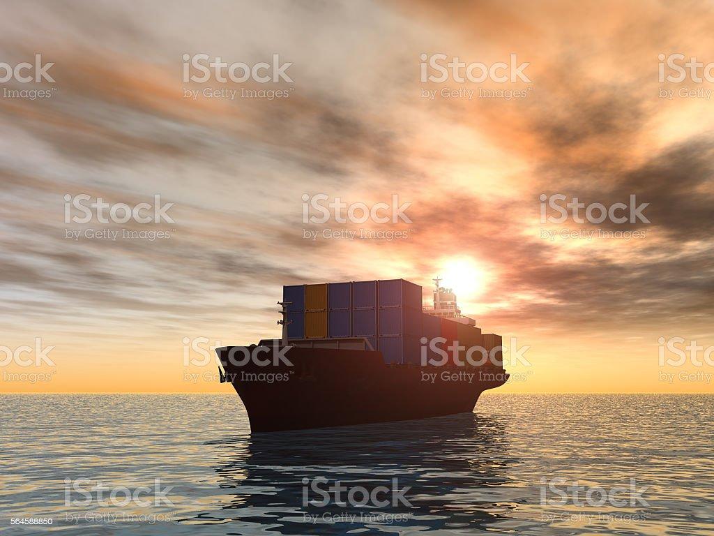 Frachtschiff bei Sonnenuntergang  – Foto