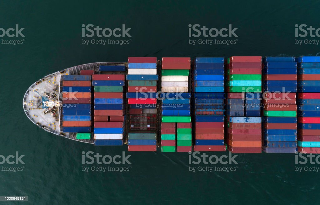 Cargo ship from above stock photo