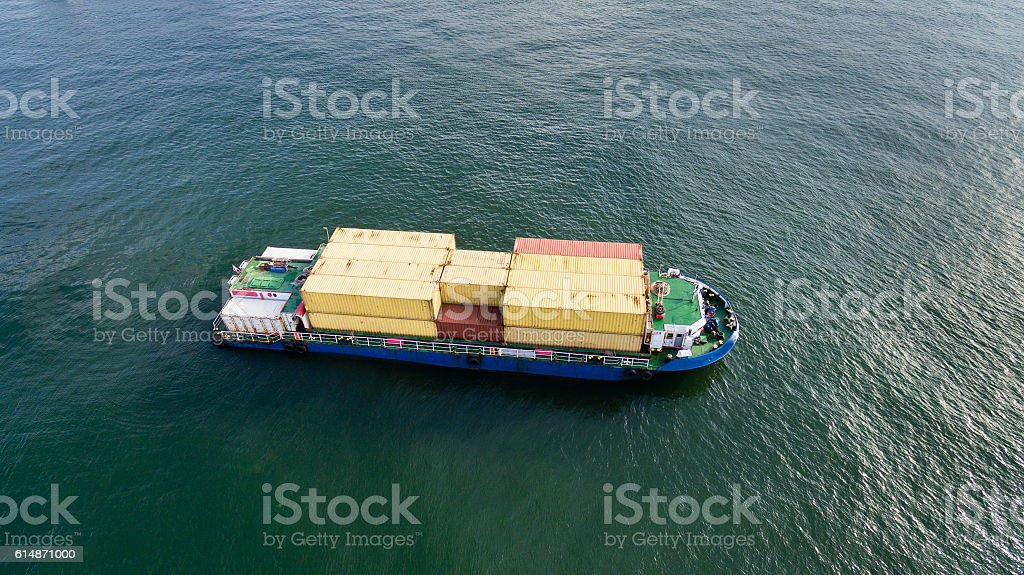 Cargo ship from top stock photo