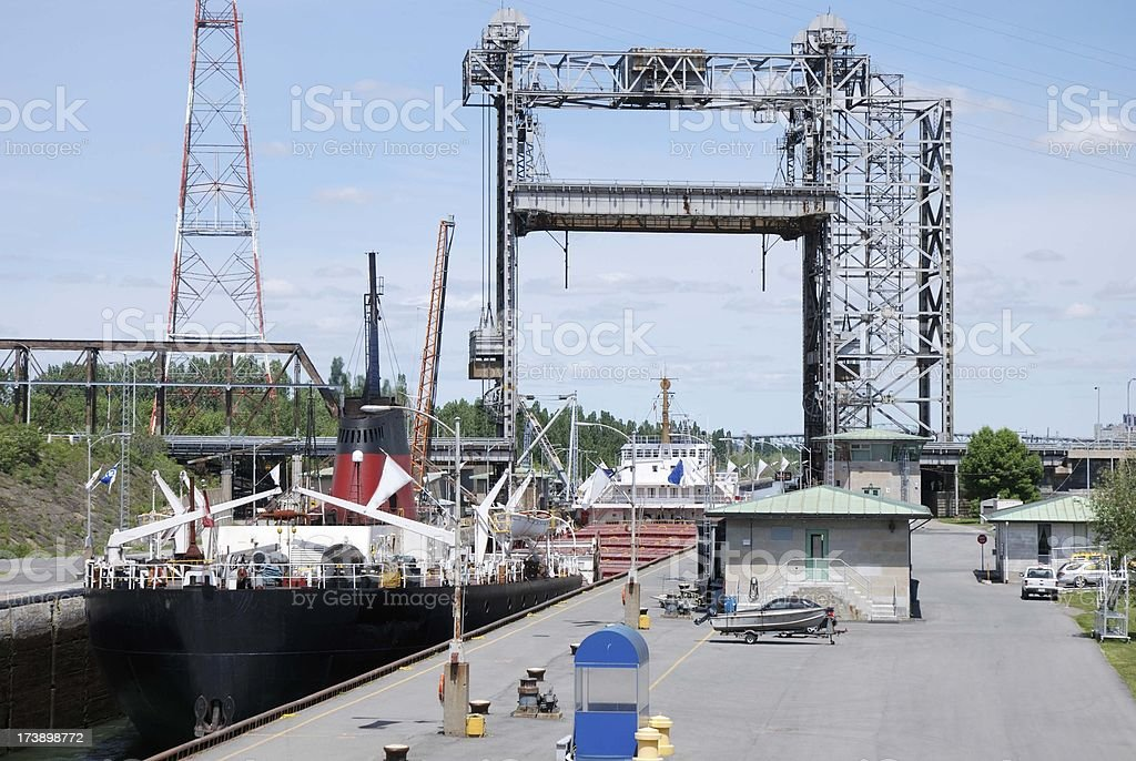 Cargo ship in canal lock at St-Lambert,Canada. stock photo