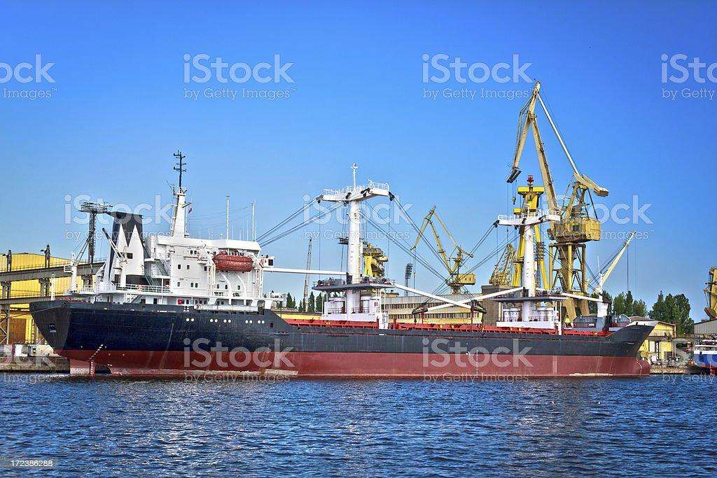 Cargo ship in Commercial Dock royalty-free stock photo