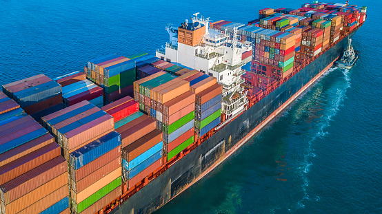 Cargo Ship In Import Export And Business Logistic Logistic And Transportation Of International Container Cargo Ship In The Open Sea Stock Photo - Download Image Now