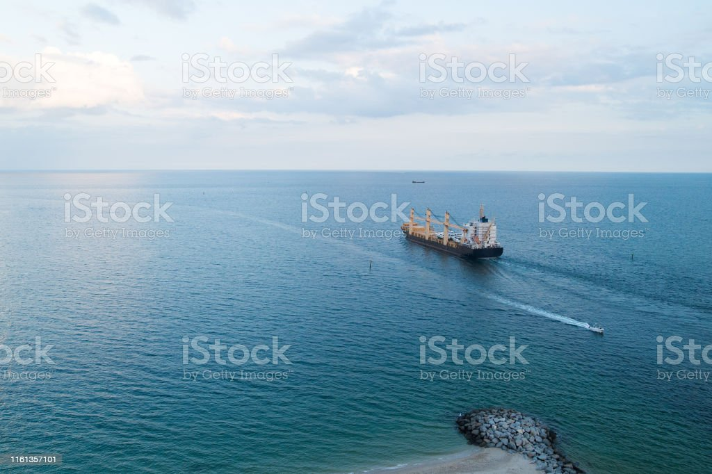 cargo ship in sea. export and import concept. Barge ship cargo...