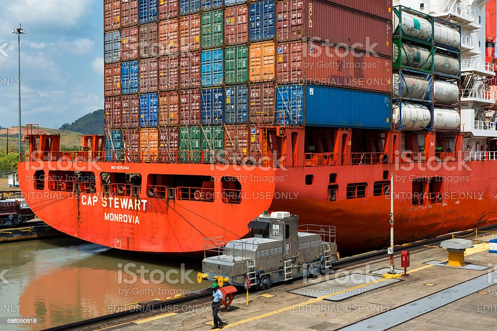 Cargo ship in the Miraflores Locks in the Panama Canal royalty-free stock photo