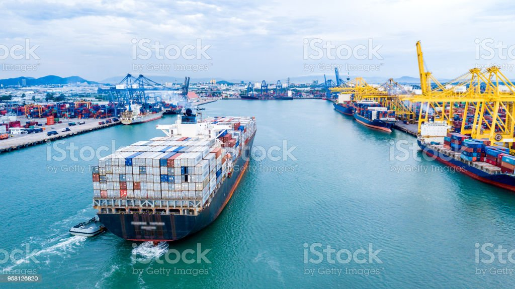 Cargo ship in the sea - Royalty-free Airplane Stock Photo