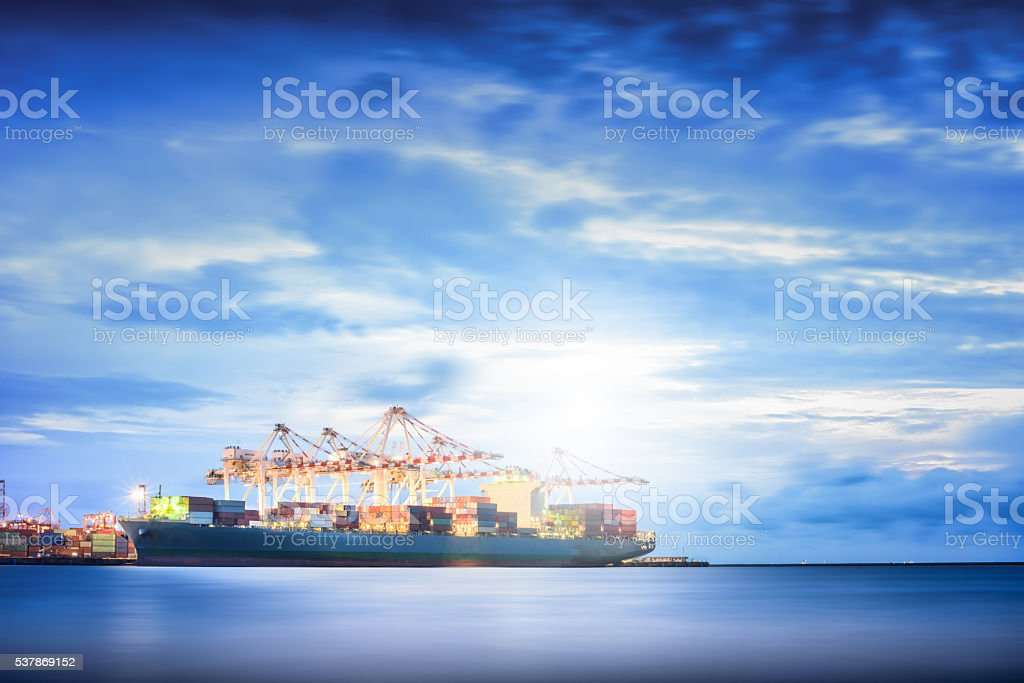 Cargo ship in the Trade Port, Shipping, Logistics, Transportation Systems, stock photo