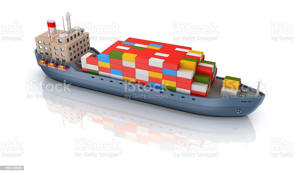 Cargo ship isolated royalty-free stock photo