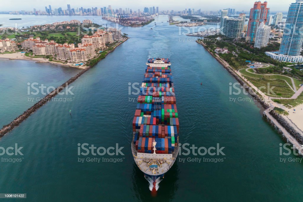 Cargo ship leaving the Port of Miami stock photo