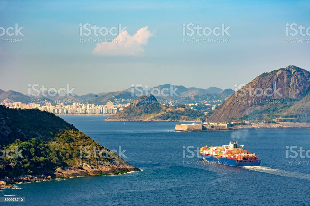 Cargo ship, loaded with containers, entering the Guanabara bay stock photo