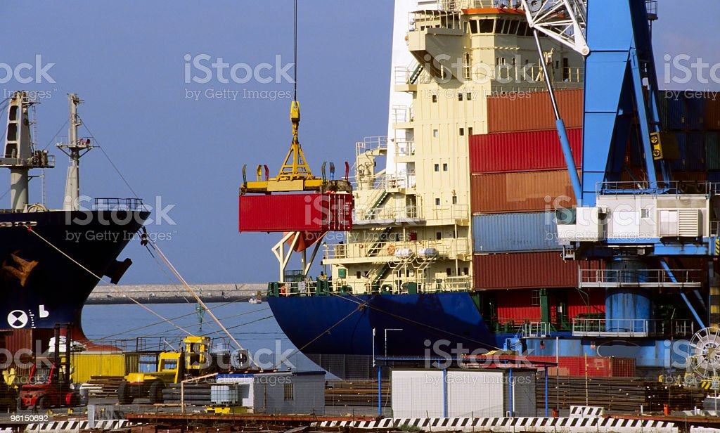 Cargo Ship  Loading Container. royalty-free stock photo