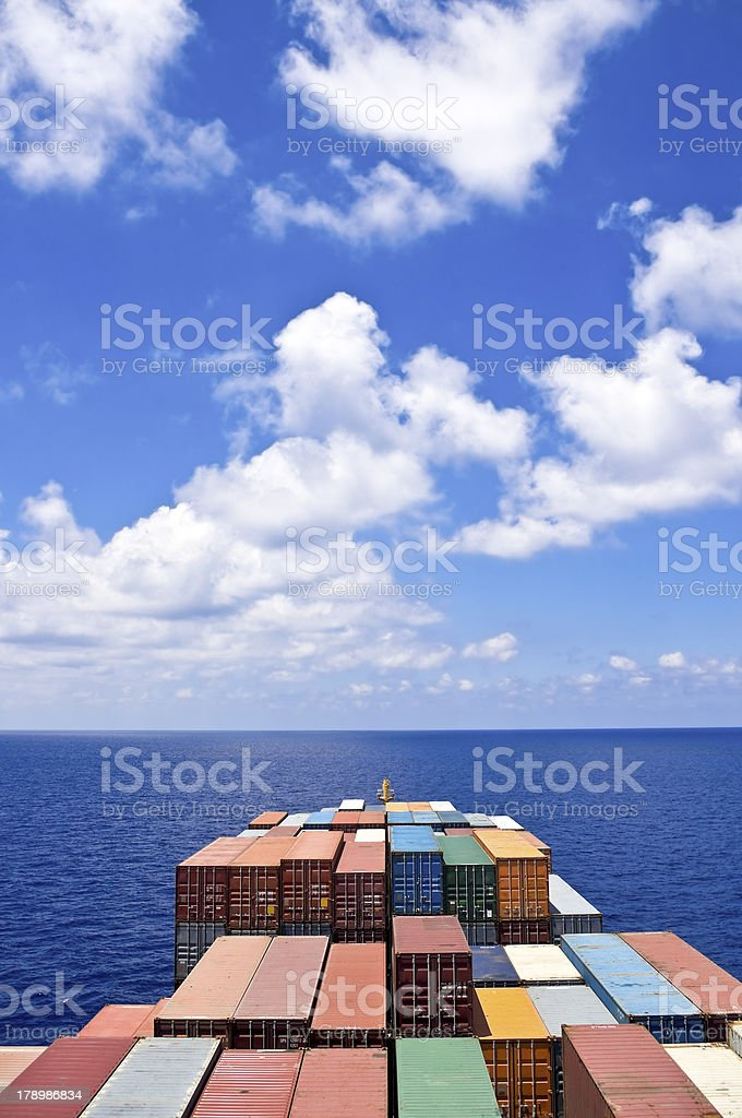 cargo ship move to the sea royalty-free stock photo