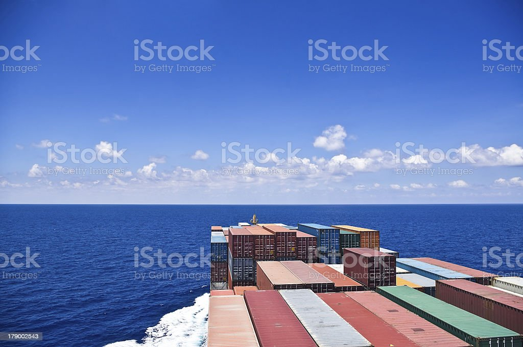 cargo ship move to the sea royalty-free stock photo