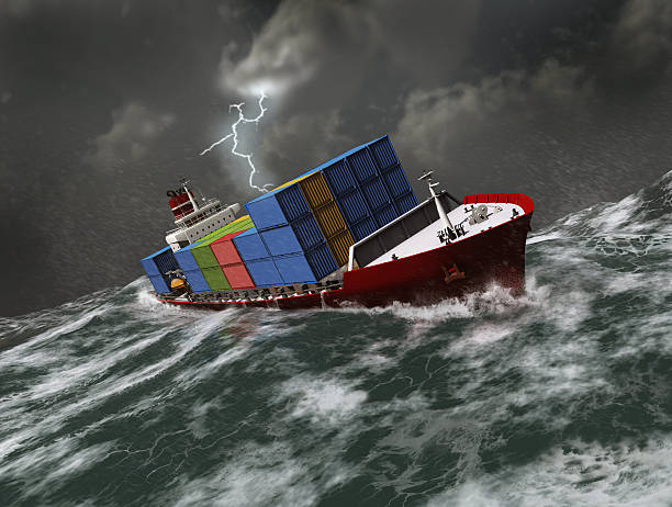 Cargo ship on a stormy sea stock photo