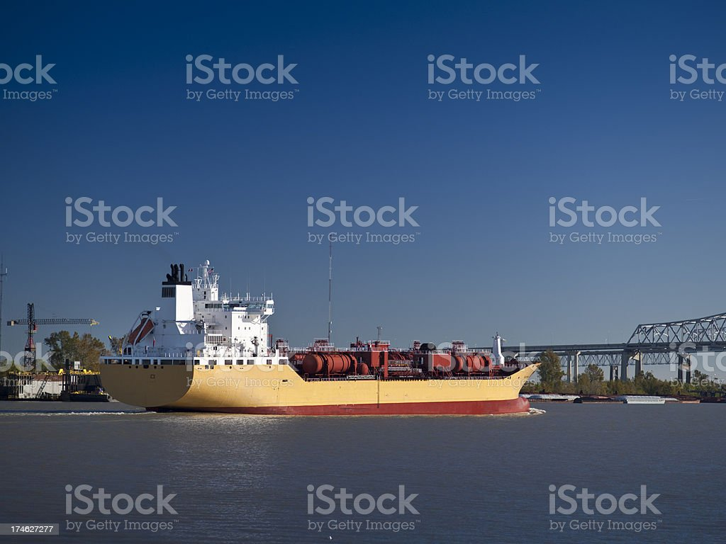 Cargo ship on the Mississippi river royalty-free stock photo