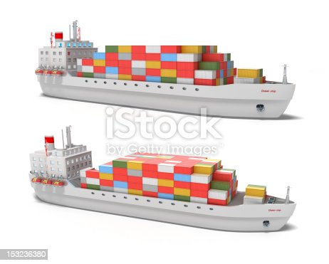 istock Cargo ship on white 153236380