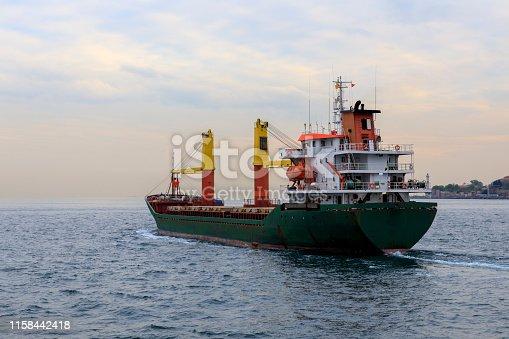 Cargo ship passing bosphorus, istanbul, Turkey
