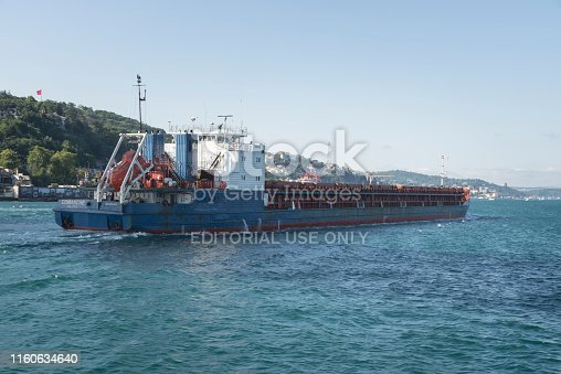 Istanbul, Turkey - Jully 03 2019: A cargo ship tanker travelling through Bosphorus Strait, istanbul, Turkey
